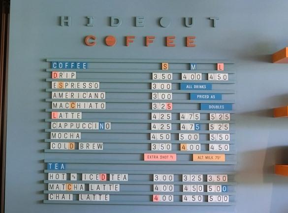 ハワイ The LAYLOW レイロウ「HIDE OUT ハイドアウト」テイクアウトコーヒーメニュー
