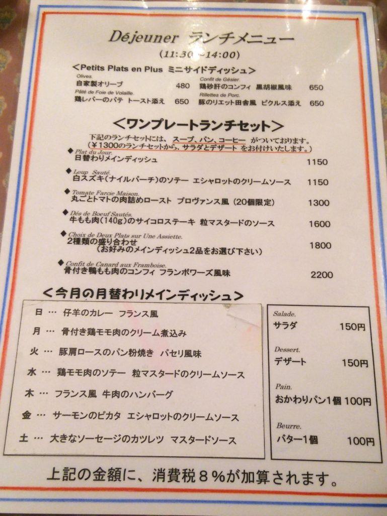渋谷 CONCOMBRE コンコンブル ランチメニュー