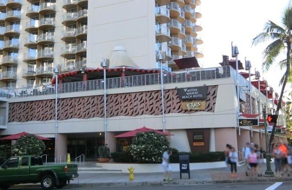 ハワイ アストン ワイキキビーチホテル「Tiki's Grill & Bar ティキズ グリル&バー」外観